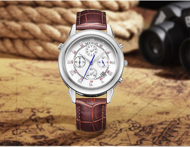 Megir Crown Prince Silver & Brown Luxury Chronometer Watch For Men & Boys