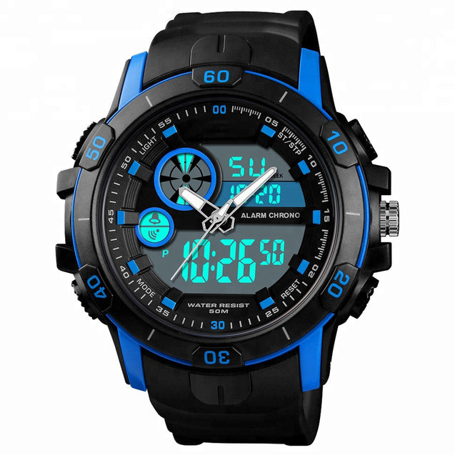 Digilog Commander 5 Desplay Hi Tech Multi Function Dual Time Analog-Digital Wrist Watch For Men & Boys