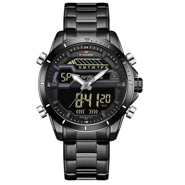Naviforce State Of The Art Jet Black Dual Time Analog Digital Multi Function Wrsit Watch For Men & Boys