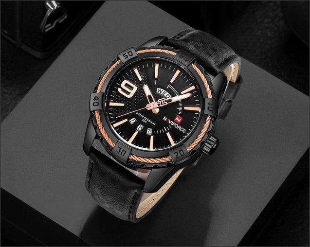 Naviforce Crisp Rose Gold & Black Belt Wrist Watch For Men & Boys