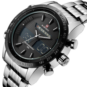 Wrath Silver Day Date Window Screen Analog Digital Multi Function Wrist Watch for Men & Boys(NF9024S/B/W).