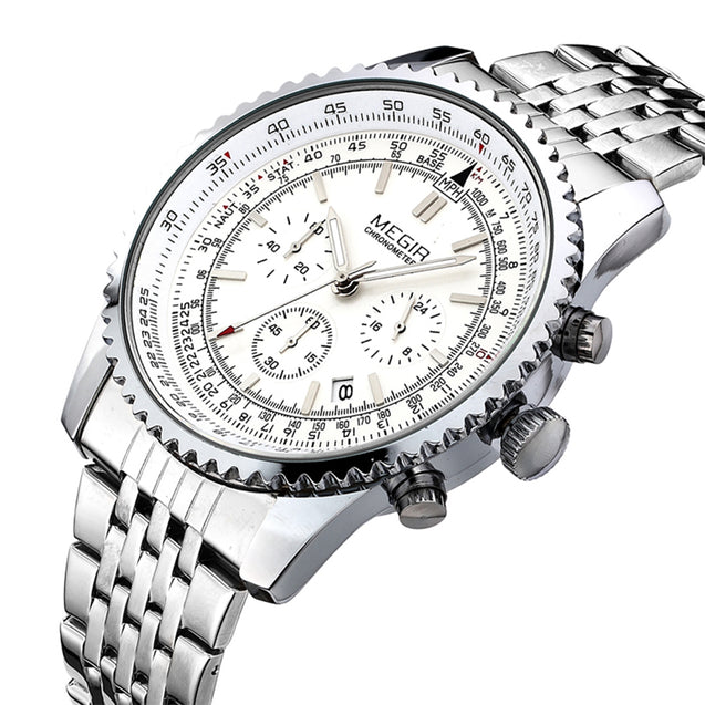 Megir Chronograph Grand Silver Luxury Men's Watch(2008G)