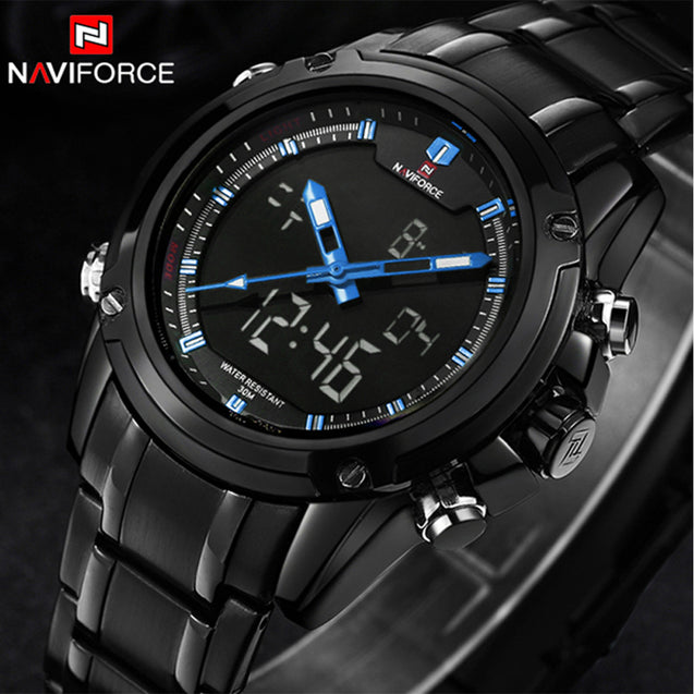 Naviforce Blue Shadow Screen Analog Digital Multi Function Wrist Watch For Men & Boys
