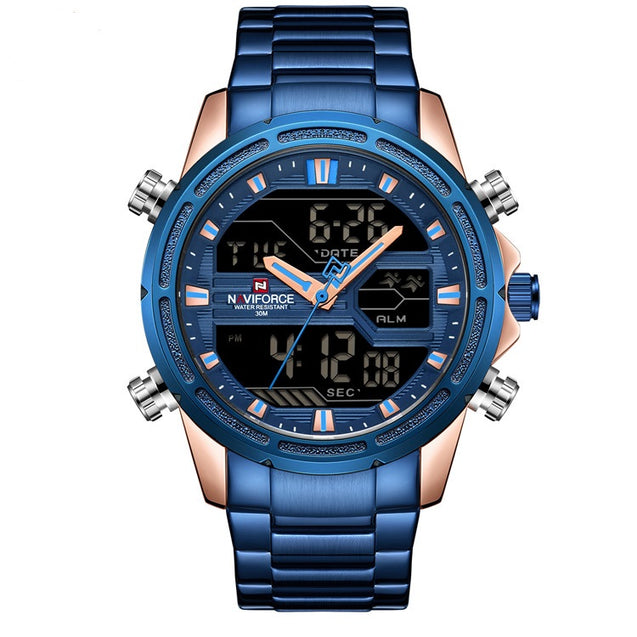 Wrath Dipped in Blue Analog Digital Multifunction Luxury Watch with Blue Chain for Men's & Boys (NF9138S_RG/BE)