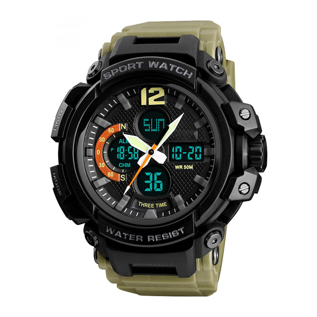 Digilog Four Display Khaki Multi Function Dual Time Analog-Digital Wrist Watch For Men & Boys