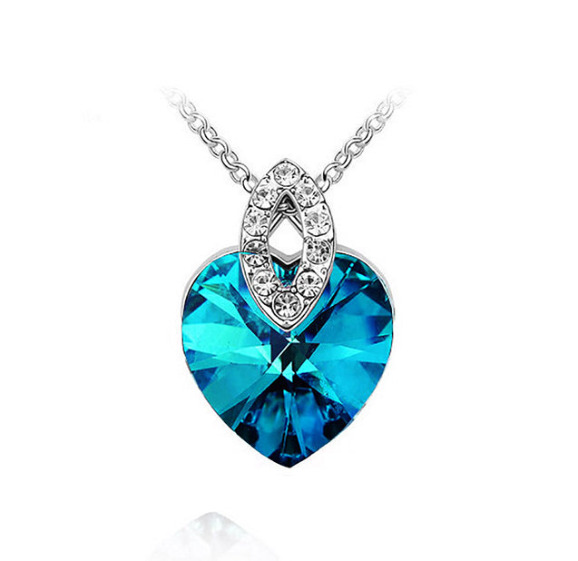 Addic Azure Heart Shape Dark Blue Austrian Crystal Pendant for Girls and Women.