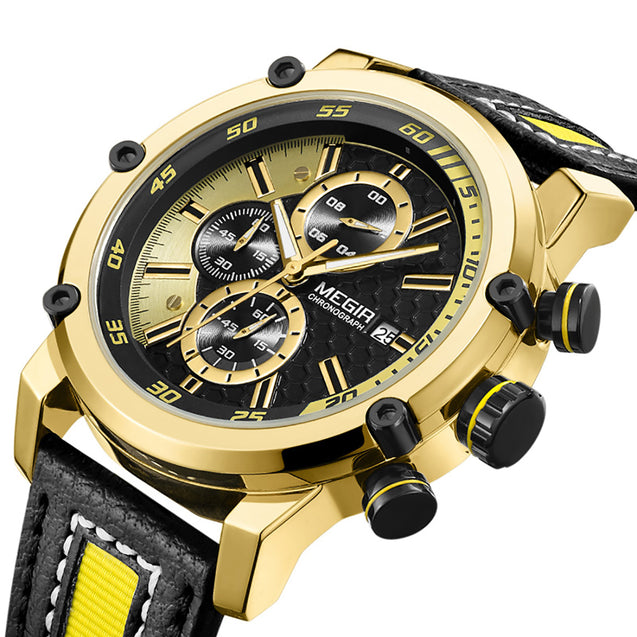 Megir Sports Classy Gold & Yellow Luxury Chronometer Watch For Men & Boys