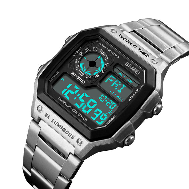 Skmei Block of Silver Digital Multi-Function Digital Watch With Free Bracelet For Men & Boys