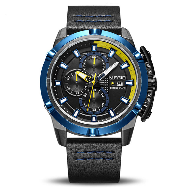 Megir Precise Past Chronograph Luxury Sports Watch for Men's & Boys with Free Addic Watch (ML2062G-BK)