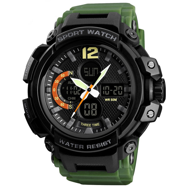 Digilog Four Display Army Green Multi Function Dual Time Analog-Digital Wrist Watch For Men & Boys