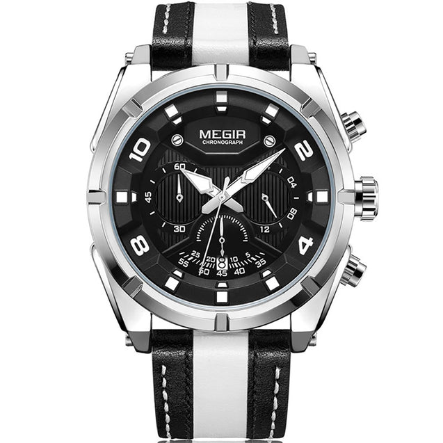 Megir Sports Track Race White Luxury Chronometer Watch For Men & Boys