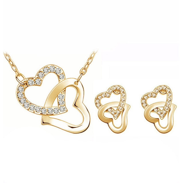 Addic Encrusted Heart Loved Austrian Crystal Studded Bling Pendants & Earrings Set for Girls and Women.