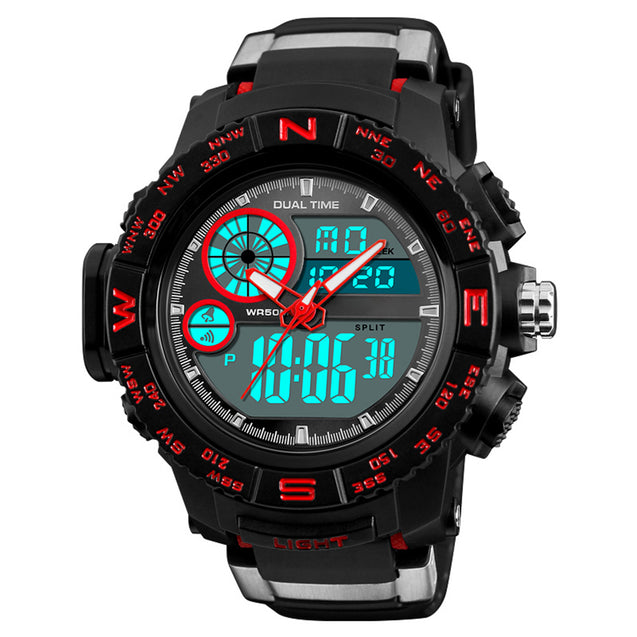 Digilog Raw Red Stylish Strap Multi Function Dual Time Analog-Digital Sports Watch For Men & Boys