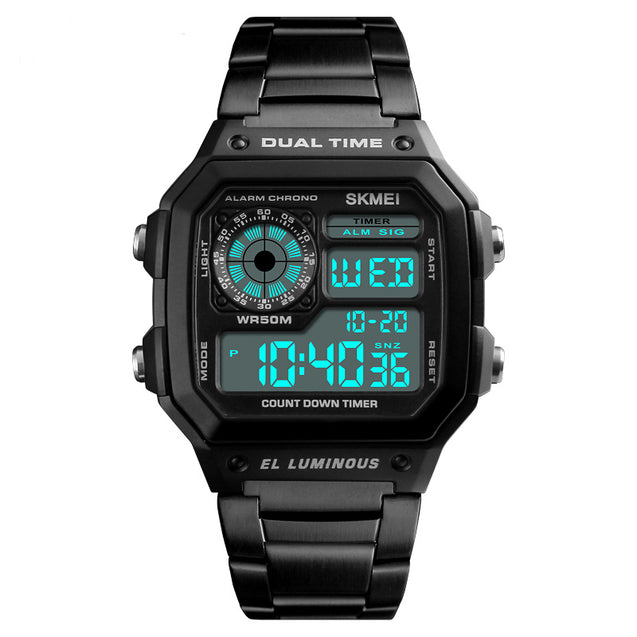 Skmei Block of Black Digital Multi-Function Digital Watch With Free For Bracelet Men & Boys