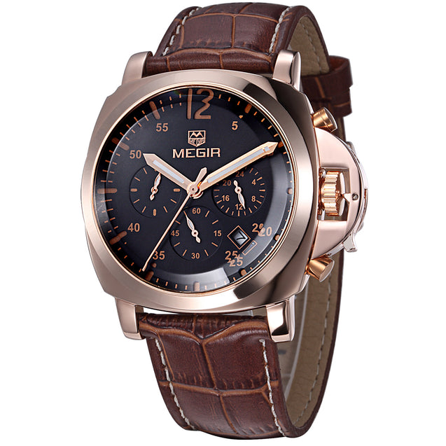 Megir Retro Antique Charm Classy Brown Luxury Chronometer Watch With Date For Men & Boys