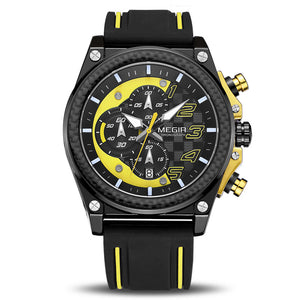 Megir Sports Racer Black & Yellow Luxury Chronometer Watch For Men & Boys