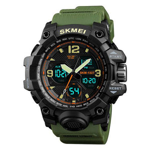 Skmei Green Analog Digital Multi-Function Sports Watch with Free Bracelet for Men & Boys (1327)