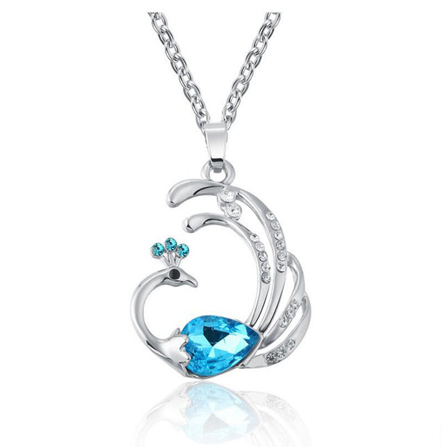 Addic Blue Austrian Crystal Peacock Pendant Valentine Gift for Girls and Women.