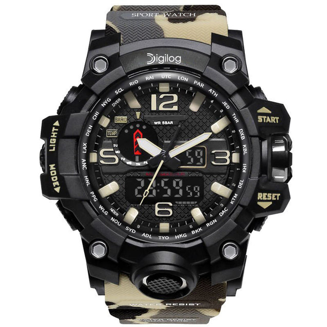 Digilog Globe Trotter Off White Camouflage Analog Digital Multi-Function Watch for Men & Boys