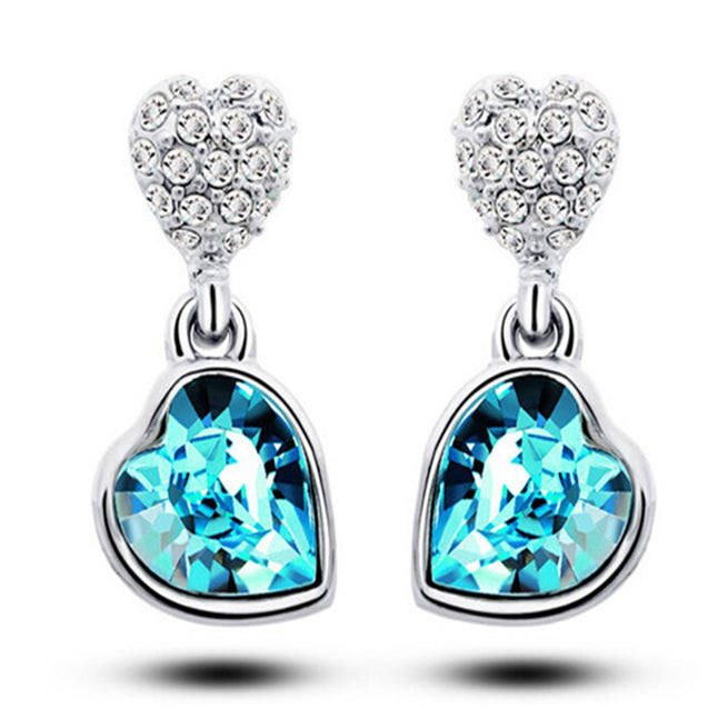 Addic Austrian Blue Crystal Heart Shape Pendant & Earrings Set for Girls and Women.