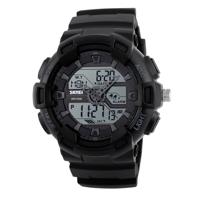 Skmei Multifunction Black Dial Analog Digital Sports Watch For Men's & Boys