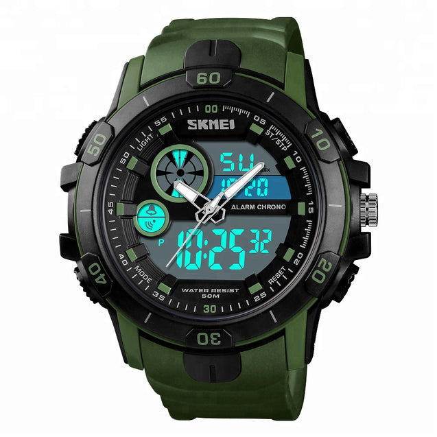 Digilog Military Green Multi Function Dual Time Analog-Digital Wrist Watch For Men & Boys