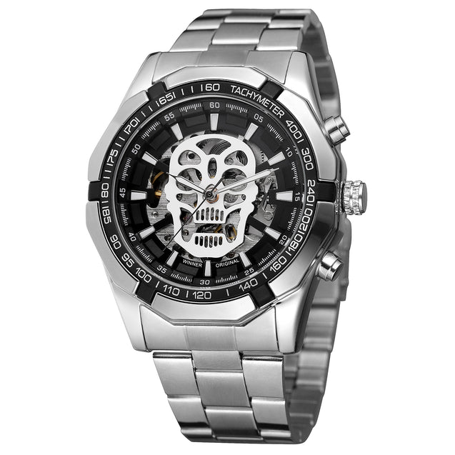 Wrath Skull Collection Silver Black Dial Automatic Mechanical Watch for Men's & Boys (Without Battery for Life).