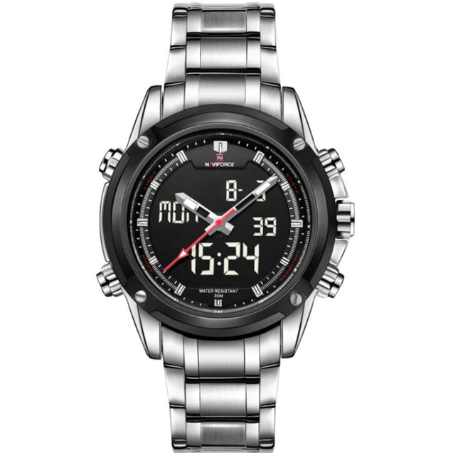 Naviforce Silver Black Shadow Screen Analog Digital Multi Function Wrist Watch For Men & Boys