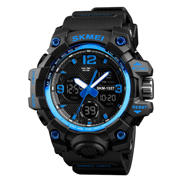 Skmei Black Analog Digital Multi-Function Sports Watch with Free Bracelet for Men & Boys (1327)
