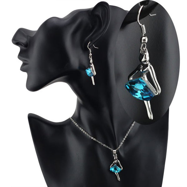 Addic Dancing Doll Austrian Crystal Studded Pendant & Earrings Set for Girls and Women.