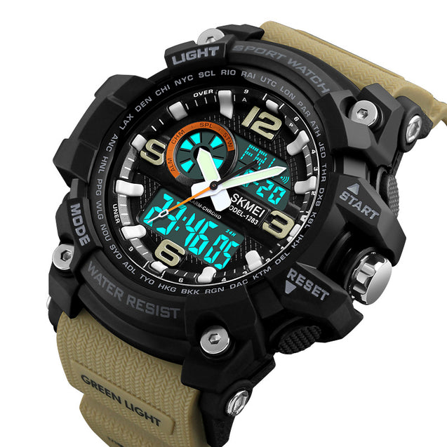 Skmei Khaki Analog Digital Multi-Function Sports Watch With Free Bracelet for Men & Boys