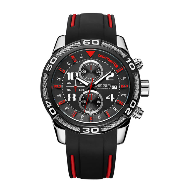 Megir Luxury Sports Charcoal Black Chronograph Men's Watch(2045G)