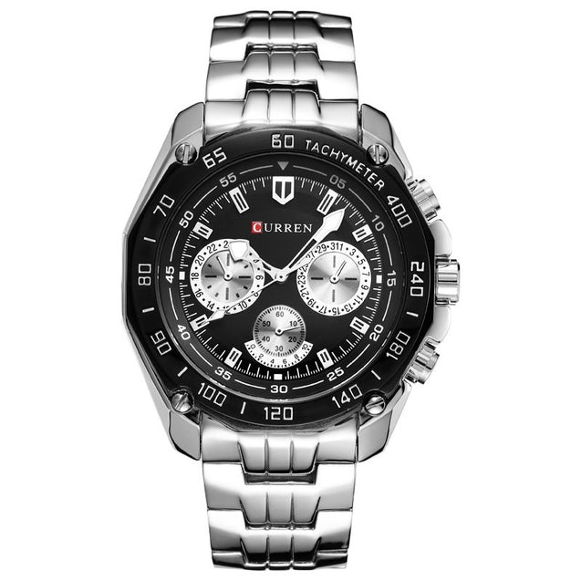 Addic-Curren Luxury Lifestyle Silver & Black Sports Watch for Men! (Wristwatch)