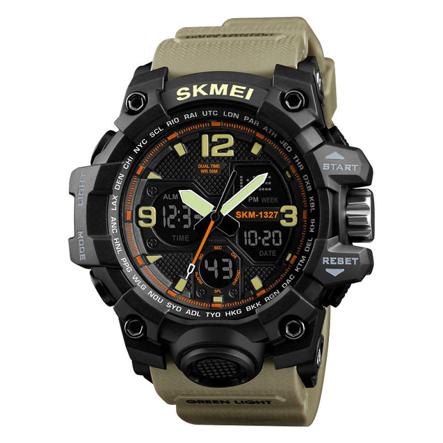 Skmei Grey Analog Digital Multi-Function Sports Watch with Free Bracelet for Men & Boys (1327)
