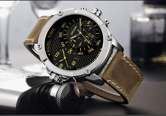 Megir Retro Vibe Dual Tone Chronograph Luxury Watch for Men's & Boys with Free Addic Watch (ML2093G-BKBN)