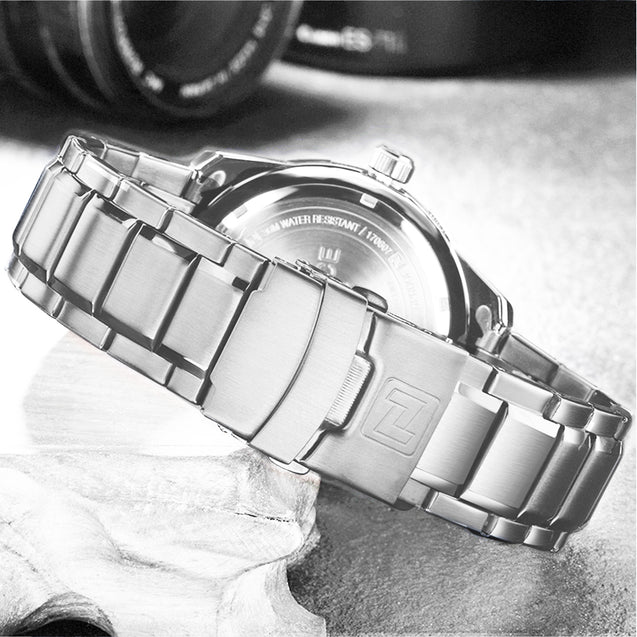 Naviforce Pride Classy Silver Metal Chain Wrist Watch For Men & Boys
