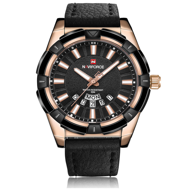 Naviforce Prince of Charm Rose Gold & Black Leather Belt Wrist Watch For Men & Boys