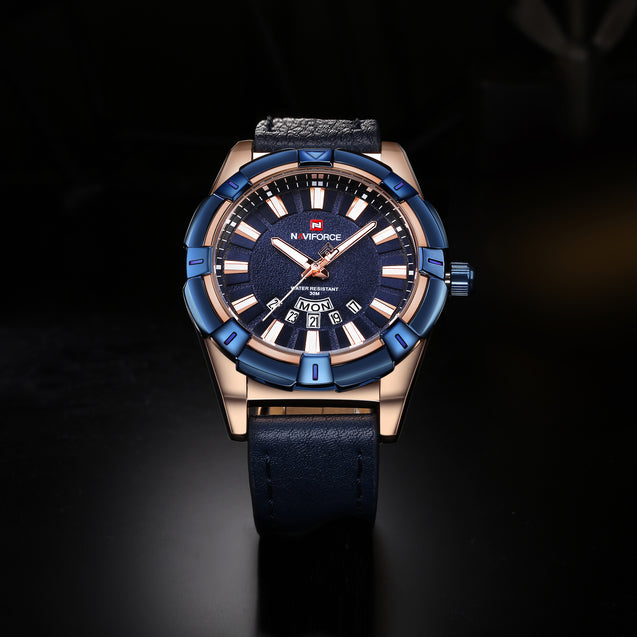 Naviforce Prince of Charm Pure Blue Belt Wrist Watch For Men & Boys