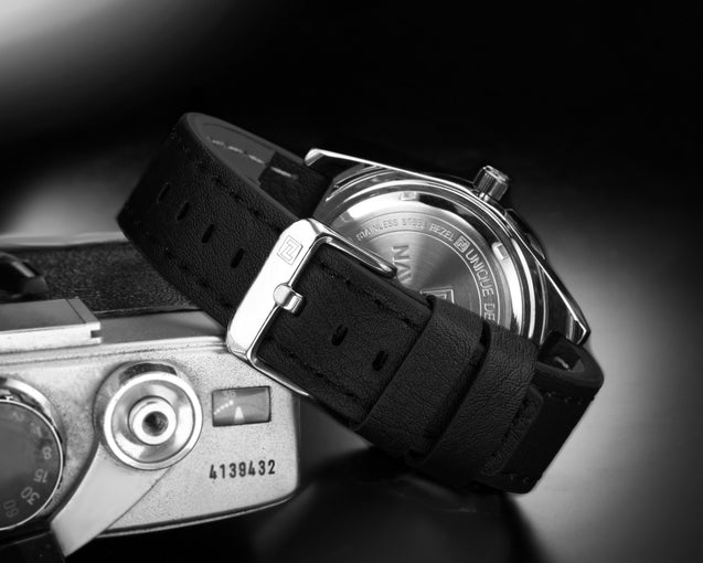 Naviforce Prince of Charm Silver & Black Leather Belt Wrist Watch For Men & Boys