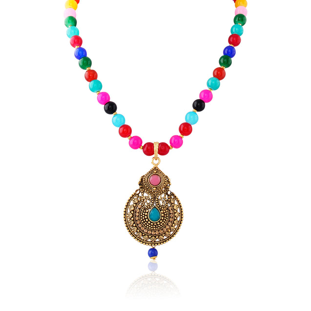 French Loops Ethnic Multi Color Beaded Necklace Charming Golden Pendant Earrings Traditional Indian Jewelry Set For Women and Girls
