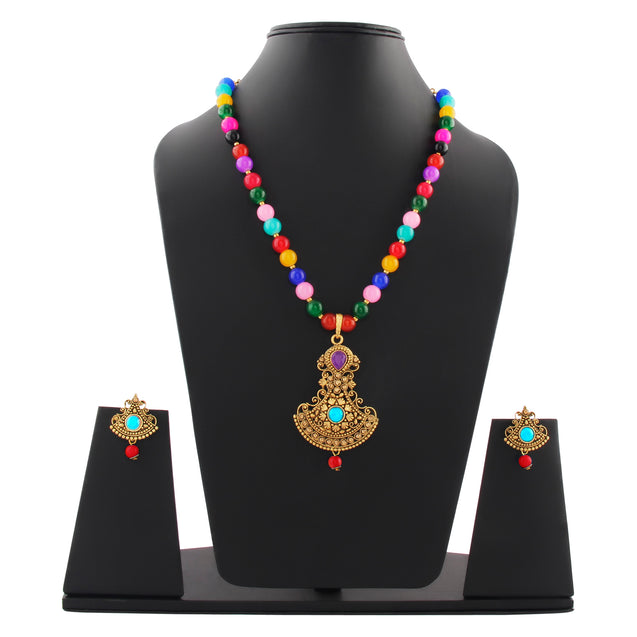 French Loops Ethnic Multi Color Beaded Necklace Elegant Golden Pendant Earrings Traditional Indian Jewelry Set For Women and Girls