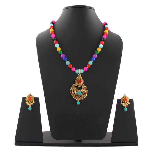 French Loops Ethnic Multi Color Beaded Necklace Stylish Golden Pendant Earrings Traditional Indian Jewelry Set For Women and Girls