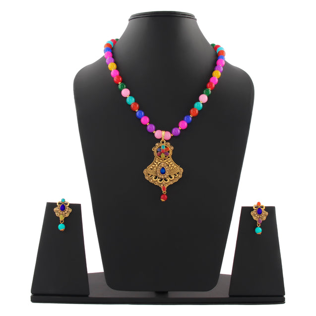 French Loops Ethnic Multi Color Beaded Necklace Beautiful Golden Pendant Earrings Traditional Indian Jewelry Set For Women and Girls