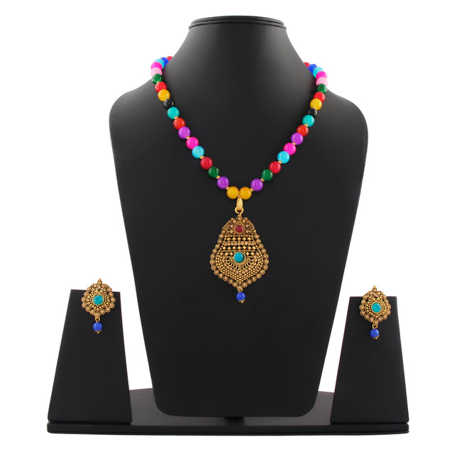 French Loops Ethnic Multi Color Beaded Necklace Chic Golden Pendant Earrings Traditional Indian Jewelry Set For Women and Girls