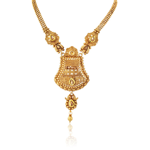 French Loops Ethnic Gold Thread Style Necklace Pendant Earrings Traditional Indian Jewelry Set For Women and Girls