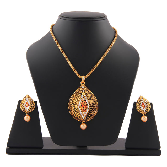 French Loops Ethnic Red White Copper Pendant & Earrings Traditional Indian Jewelry Set For Women and Girls