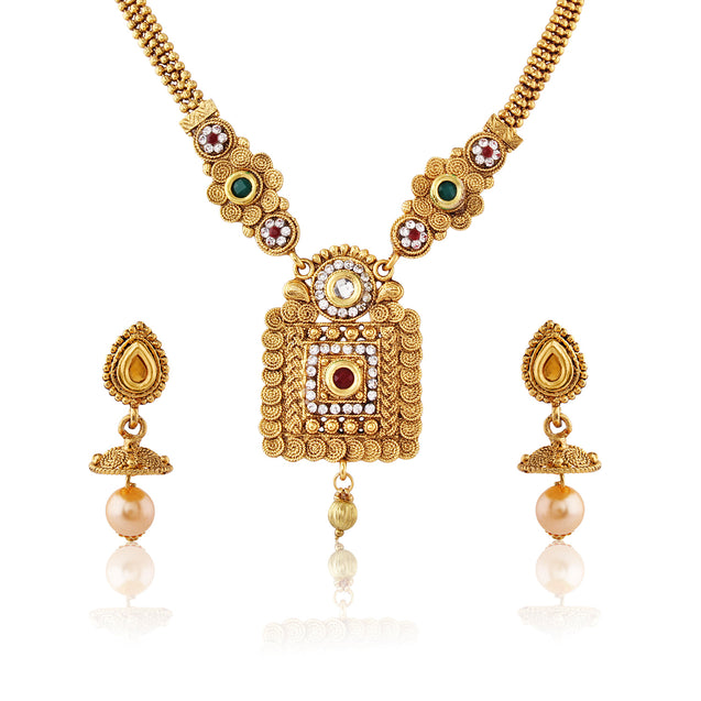 French Loops Ethnic Gold Square Threaded Necklace Golden Pendant Earrings Traditional Indian Jewelry Set For Women and Girls
