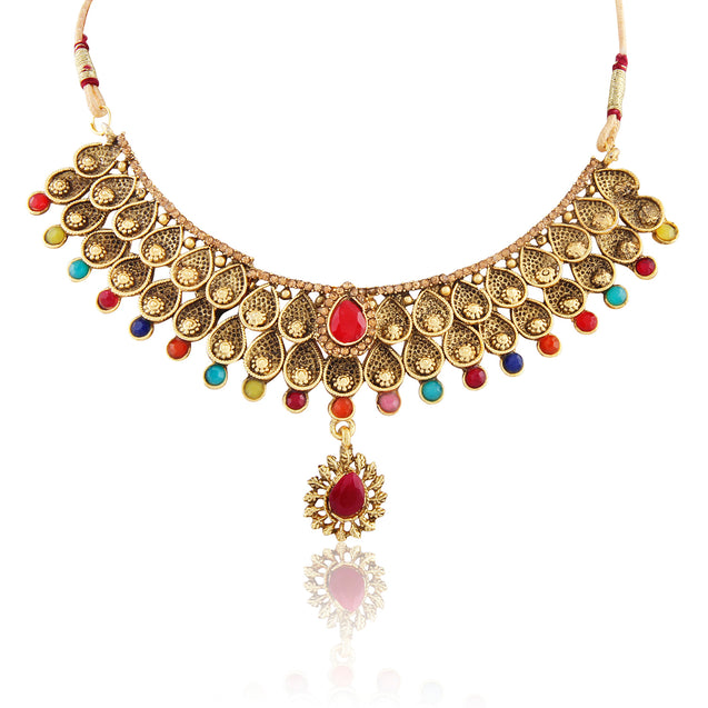 French Loops Ethnic Multi Color Necklace & Premium Drop Earrings Traditional Indian Jewelry Set For Women and Girls