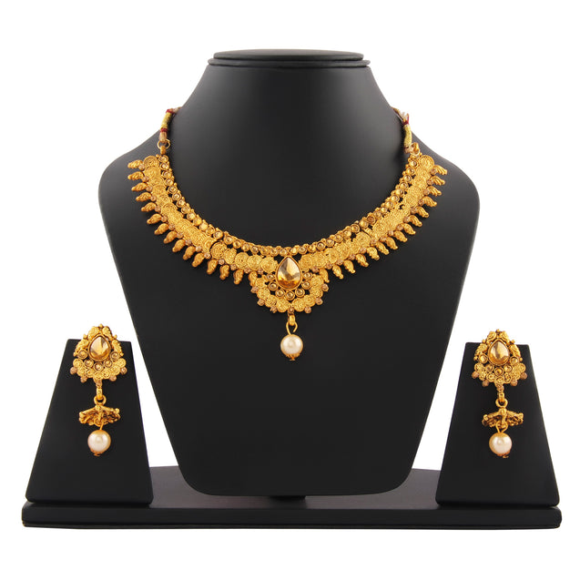 French Loops Ethnic Gold Necklace Golden Pendant Earrings Traditional Indian Jewelry Set For Women and Girls