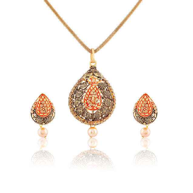 French Loops Ethnic Red & Gold Pearl Pendant & Earrings Traditional Indian Jewelry Set For Women and Girls